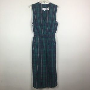 Vintage tartan plaid wrap maxi dress